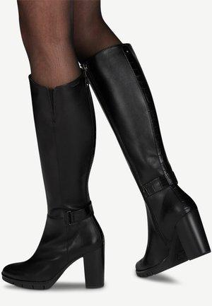 High heeled boots - black/croco