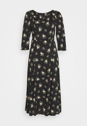 SQUARE NECK WOVEN MIDI  - Day dress - black