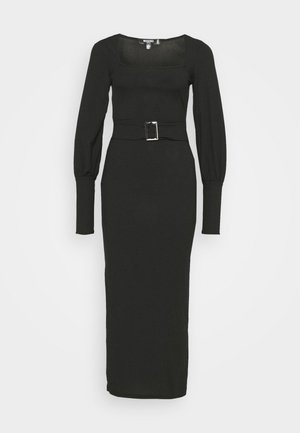 SQUARE NECK SELF BELT MIDAXI DRESS - Kjole - black
