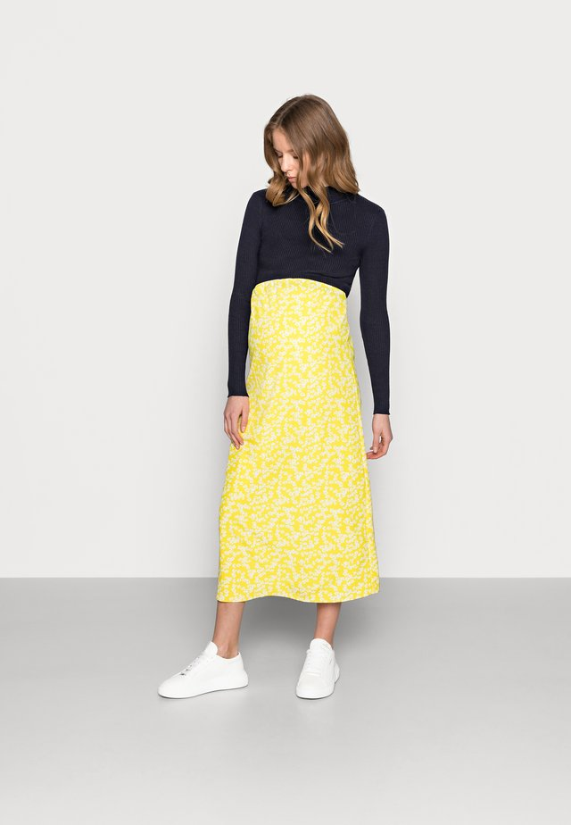CARE SLIP SKIRT - Maxi sukně - yellow ditsy