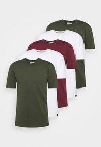 5 PACK - T-paita - white/forest green/burgundy
