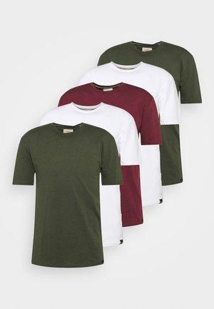 5 PACK - T-shirt basic - white/forest green/burgundy