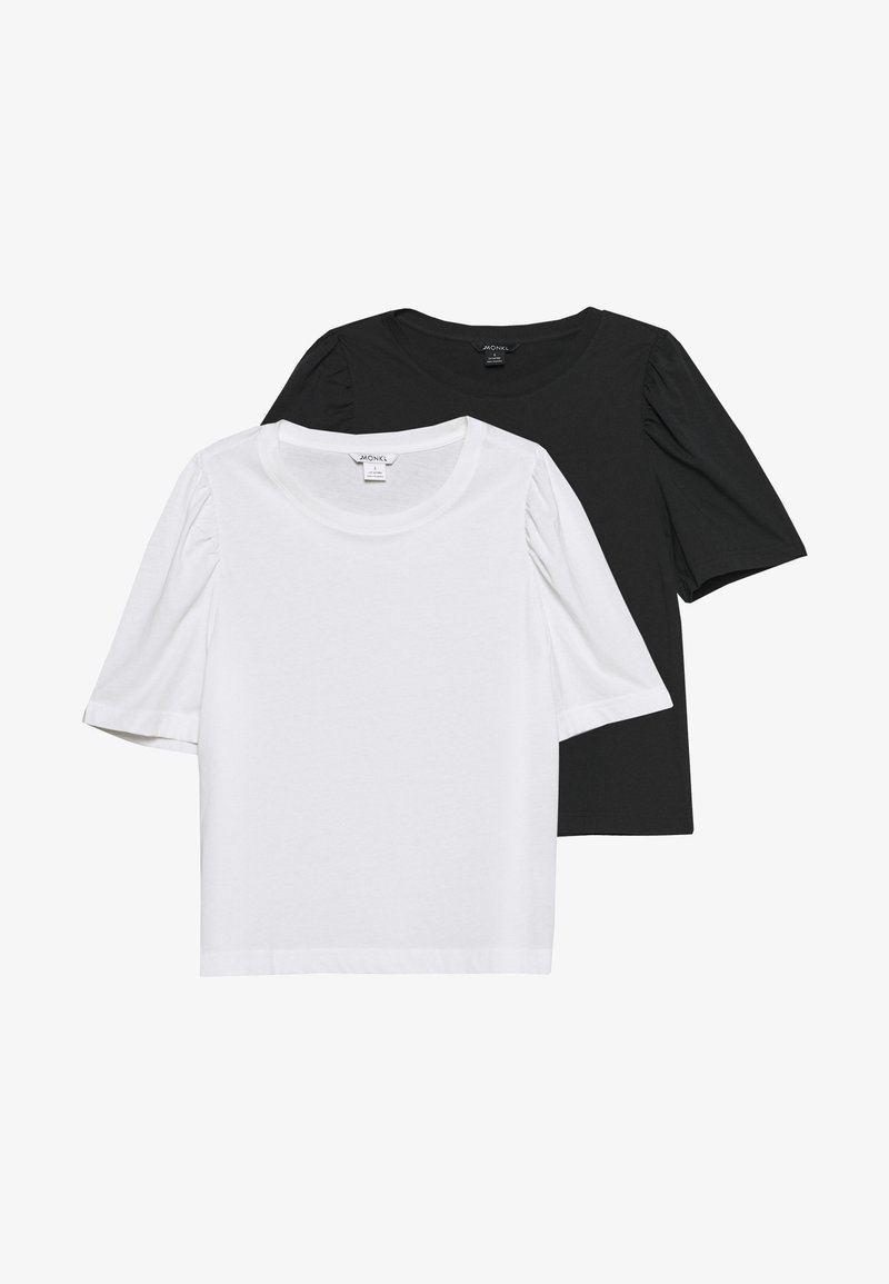 Monki - TUGBA TEE 2 PACK - T-shirts - black dark/white light