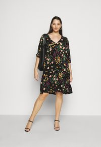 Dorothy Perkins Curve - V NECK SMOCK FLORAL DRESS - Jersey dress - multi coloured - 1