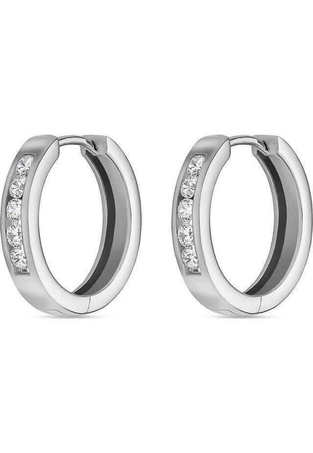 FAVS. DAMEN-CREOLE 925ER SILBER 10 ZIRKON - Earrings - silver