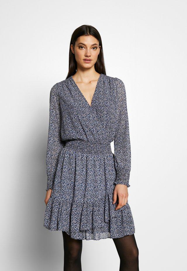 RUFFLE WRAP DRESS - Kjole - black/vintage blue