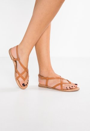 T-bar sandals - cognac
