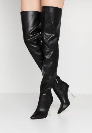 DELTA - Kozačky na vysokém podpatku - black