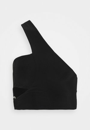 ONE SHOULDER CUT OUT O RING CROP - Top - black