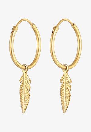 HOOPS FEATHER - Earrings - gold
