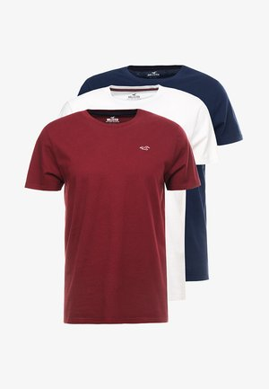 3 PACK  - Camiseta estampada - white/burgundy/navy