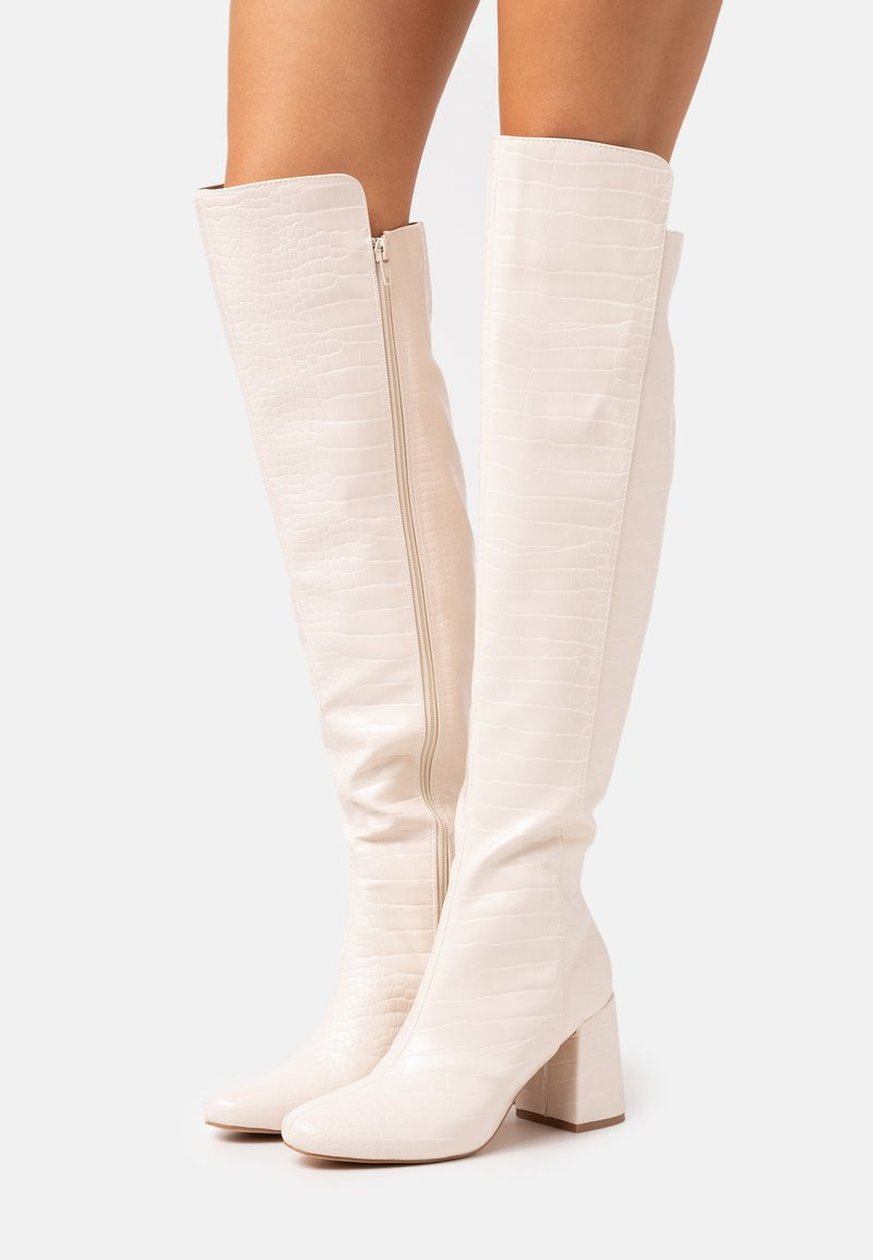 Missguided - FLARED HEEL BOOT - Over-the-knee boots - cream