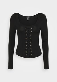 New Look - LACE UP PUFF  - Long sleeved top - black - 0
