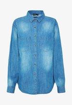 Button-down blouse - mid blue wash