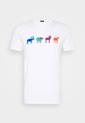 MENS SLIM FIT GOATS ZEBRA - T-shirt z nadrukiem - white