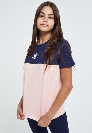 Print T-shirt - navy & pink