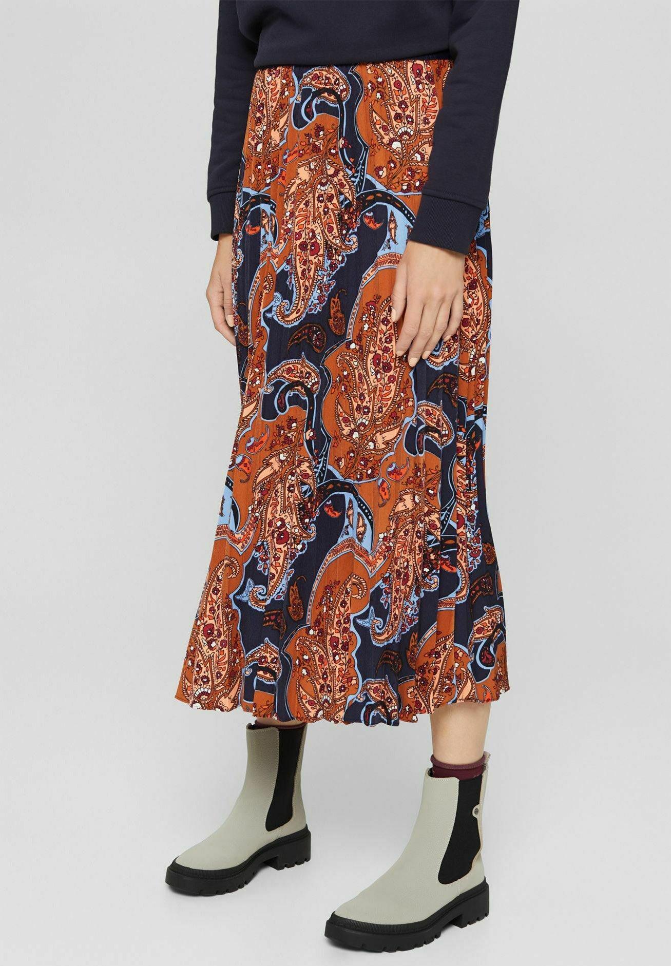 Femme plissierter Midi mit Paisleyprint - Jupe trapèze