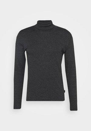 LONG SLEEVE TURTLE NECK STRIPED - Long sleeved top - black
