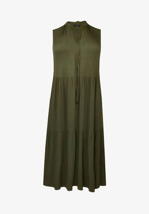 TIE DETAIL TIERED - Jersey dress - khaki