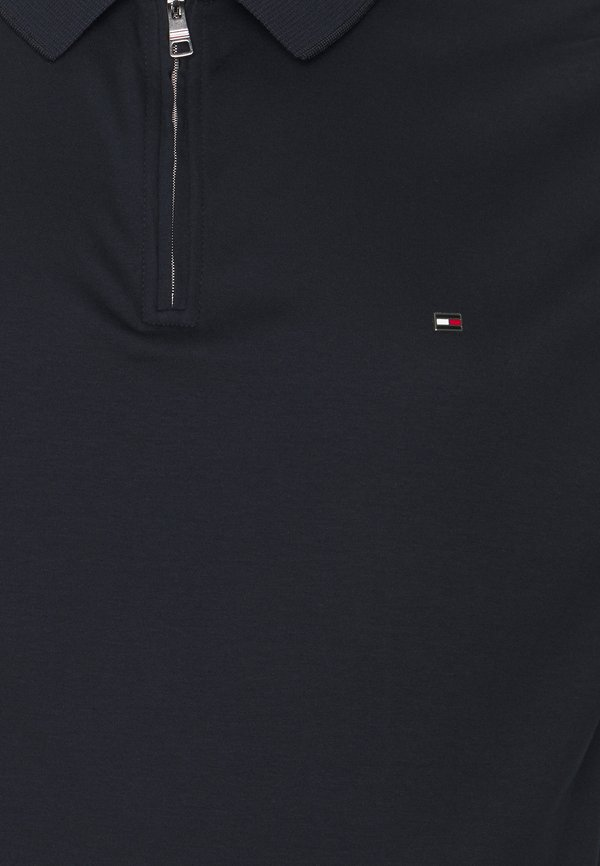 Tommy Hilfiger INTERLOCK ZIP - Koszulka polo - desert sky/granatowy Odzież Męska JDUM