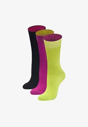 3 PACK PUSTEBLUME - Socks - hellgrün, magenta, schwarz