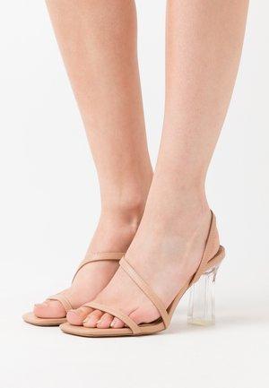 CLEAR SLING BACK SQUARE TOE  - Sandaler med høye hæler - nude