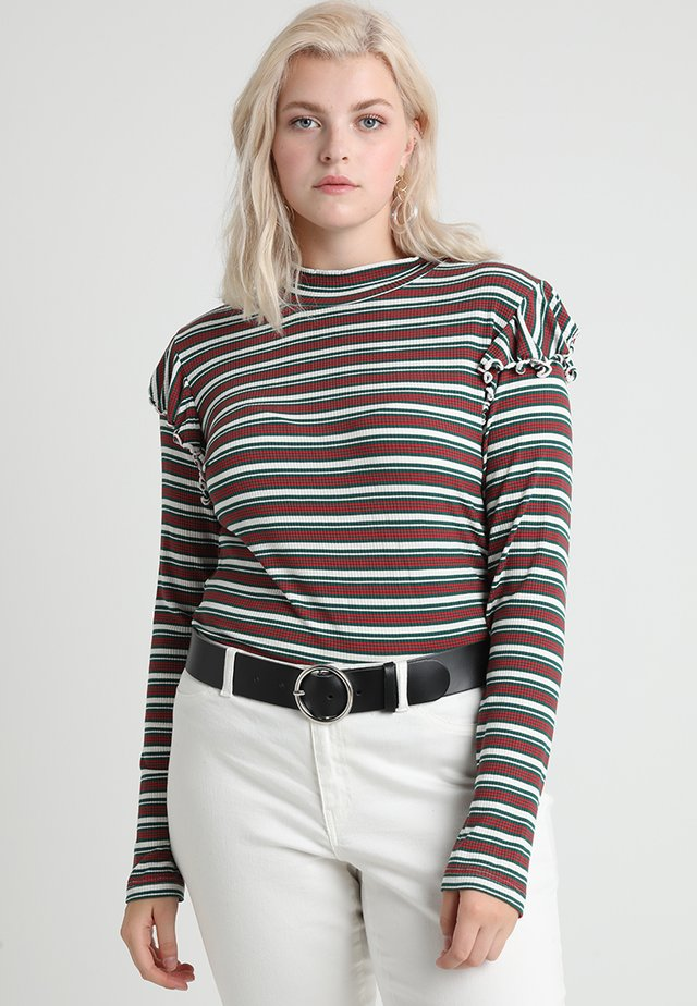 LADIES STRIPED TURTLENECK - Long sleeved top - white/green/firered