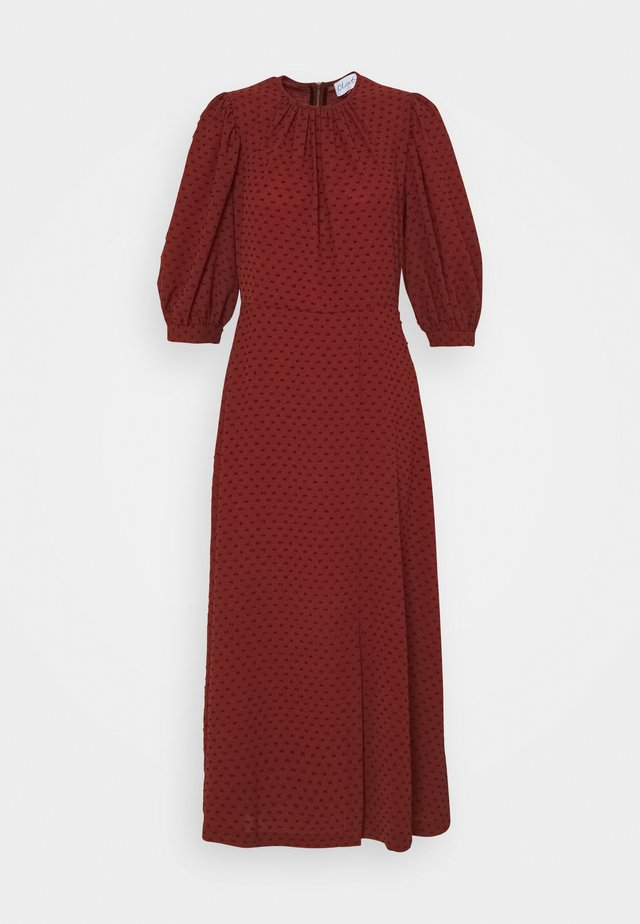 MIDI GATHERED NECK DRESS - Robe d'été - rust