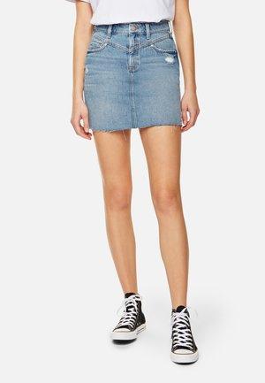 EVELYN - Mini skirt -  distressed denim