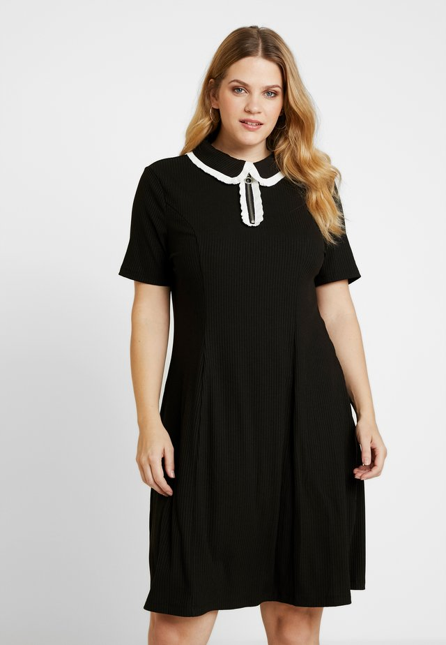ZIP DRESS - Robe en jersey - black/white