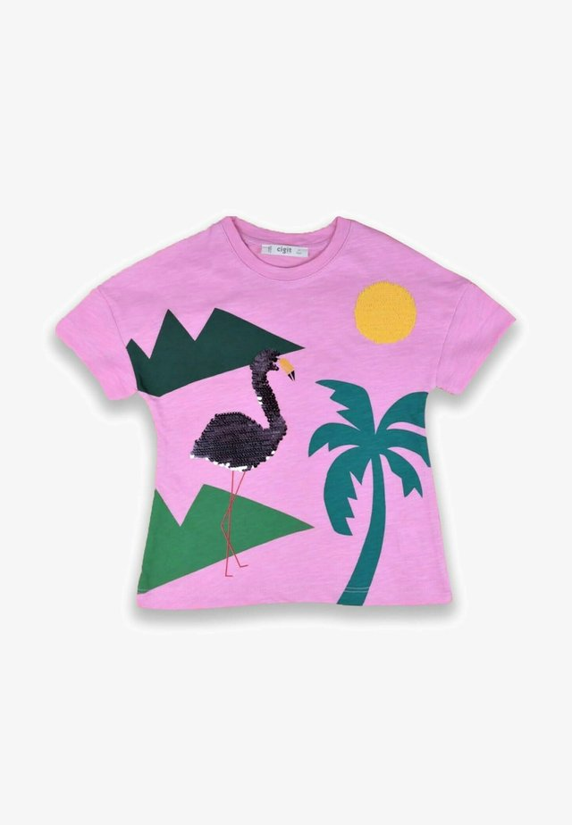 FLAMINGO EMBROIDERED - Triko s potiskem - neon pink