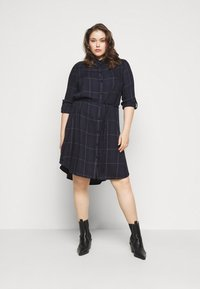 MY TRUE ME TOM TAILOR - BELTED CHECKED DRESS - Shirt dress - navy gipsy/camel - 4