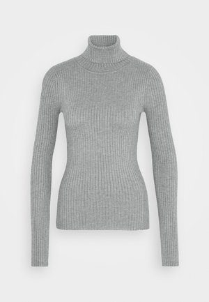 BASIC- RIBBED TURTLE NECK - Jumper - mid grey melange