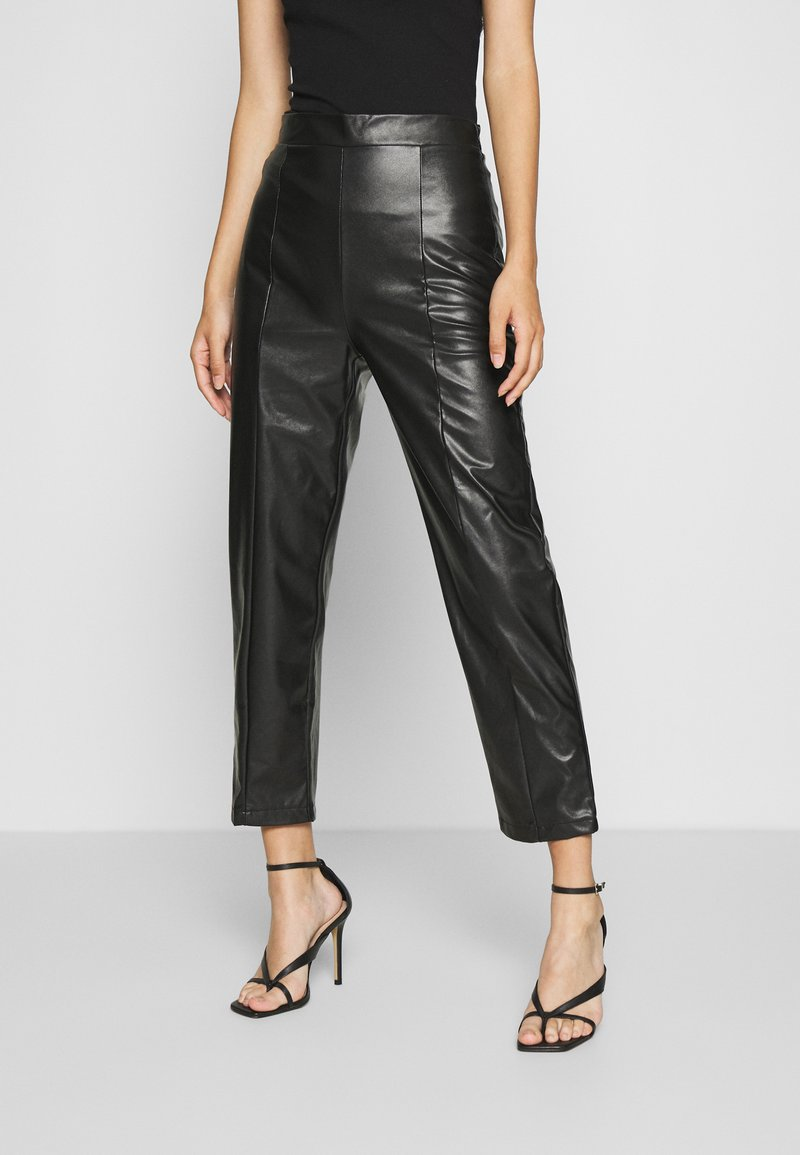Even&Odd - HIGH WAISTED PU STRAIGHT LEG TROUSERS - Trousers - black