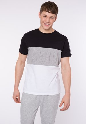 TAPED PANEL - Print T-shirt - black