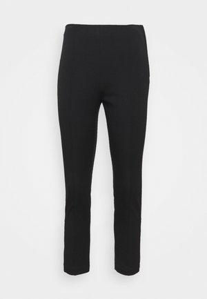 ZIP FITTED CROP - Trousers - black