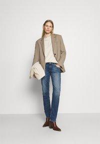 Marc O'Polo - TROUSER MID WAIST - Straight leg jeans - blue denim - 1