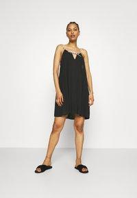 Calvin Klein Swimwear - LOGO TIES DRESS - Nightie - black - 1