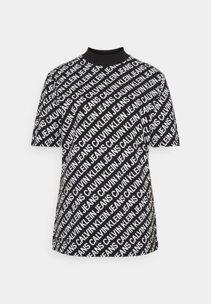 SLIM MOCK NECK TEE - Print T-shirt - black