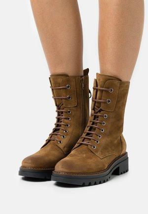 LEATHER - Platform ankle boots - camel