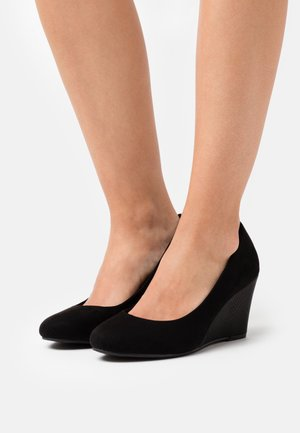 WIDE FIT WATERLILY NEW - Wedges - black