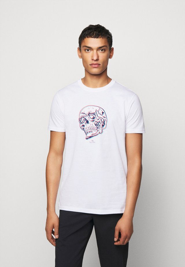 MENS SLIM FIT SKULL - T-Shirt print - white
