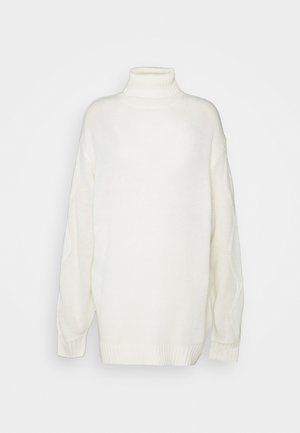 ROLL NECK CABLE SLEEVE JUMPER - Jersey de punto - off white