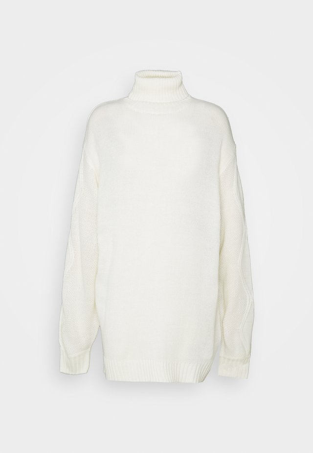 ROLL NECK CABLE SLEEVE JUMPER - Svetr - off white