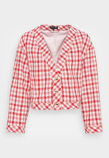 EPPING TWEED CHECK CARDIGAN - Cardigan - red