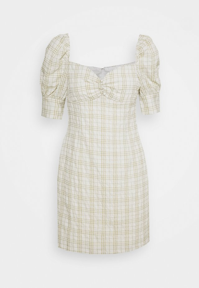 BUST DETAIL DRESS WITH PUFF SLEEVE - Day dress - sage