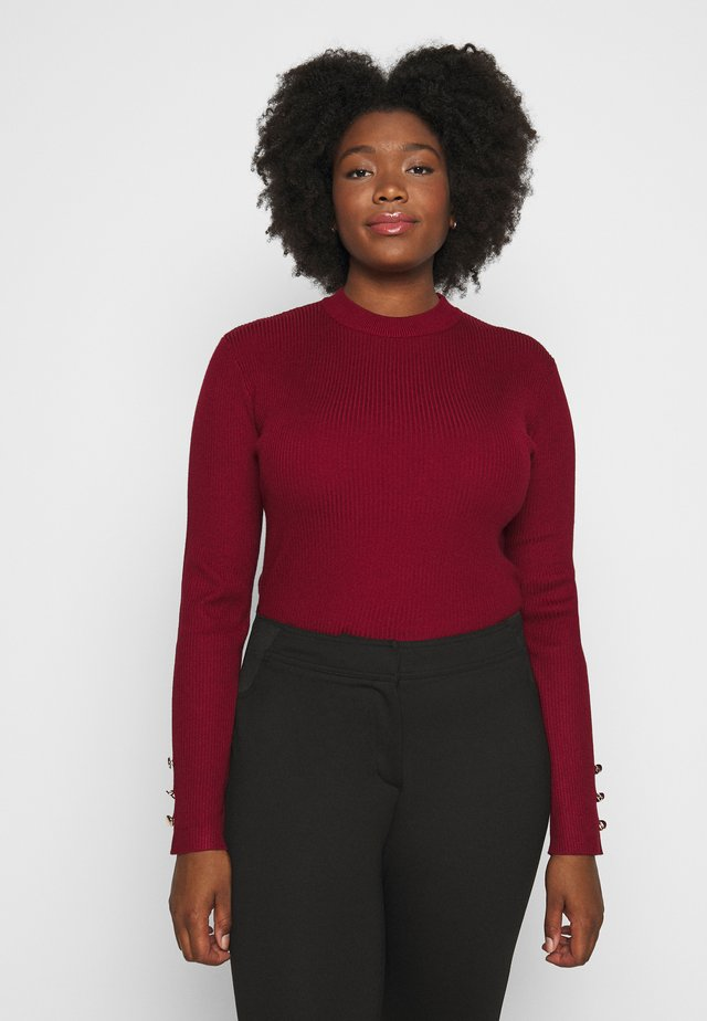 BUTTON CUFF CREW NECK - Maglione - wine