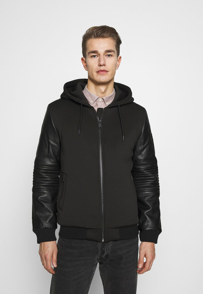 Guess - TECHNICAL HOODIE BOM - Faux leather jacket - jet black