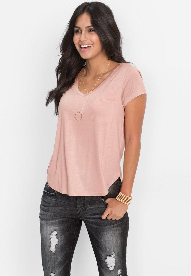 MIT V AUSSCHNITT - T-shirt basique - rosa