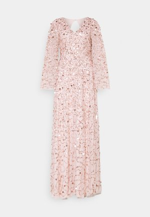 ALL OVER 3D EMBELLISHED DRESS WITH BELL SLEEVE - Gallakjole - pearl pink